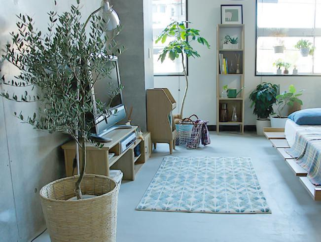 木製家具と観葉植物を使いナチュラルなテイストを取り入れたベッドルームコーディネイト